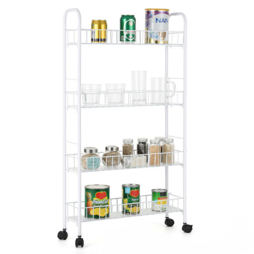 4-Tier Slide Out Gap Kitchen Slim Storage Tower Rack Shelves Cart Wheels
