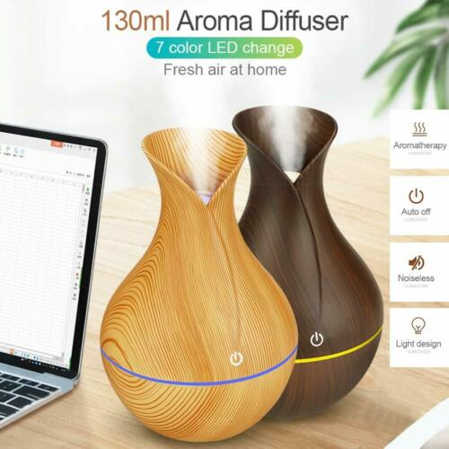 7 Color Aroma Essential Oil Diffuser Wood Grain Aromatherapy Humidifier 130ML