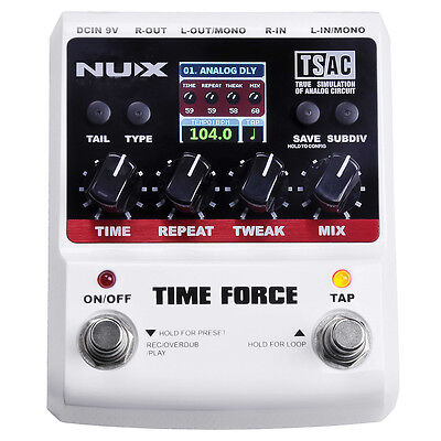 Nux Time Force Digital Delay Guitar Effects Pedal +Picks