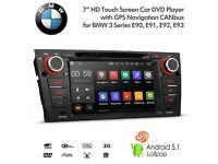 "BMW 3 Series E90 E91 E92 E93 7"" Android GPS Radio SatNav USB SD AUX Bluetooth Stereo Phone Mirrorin"