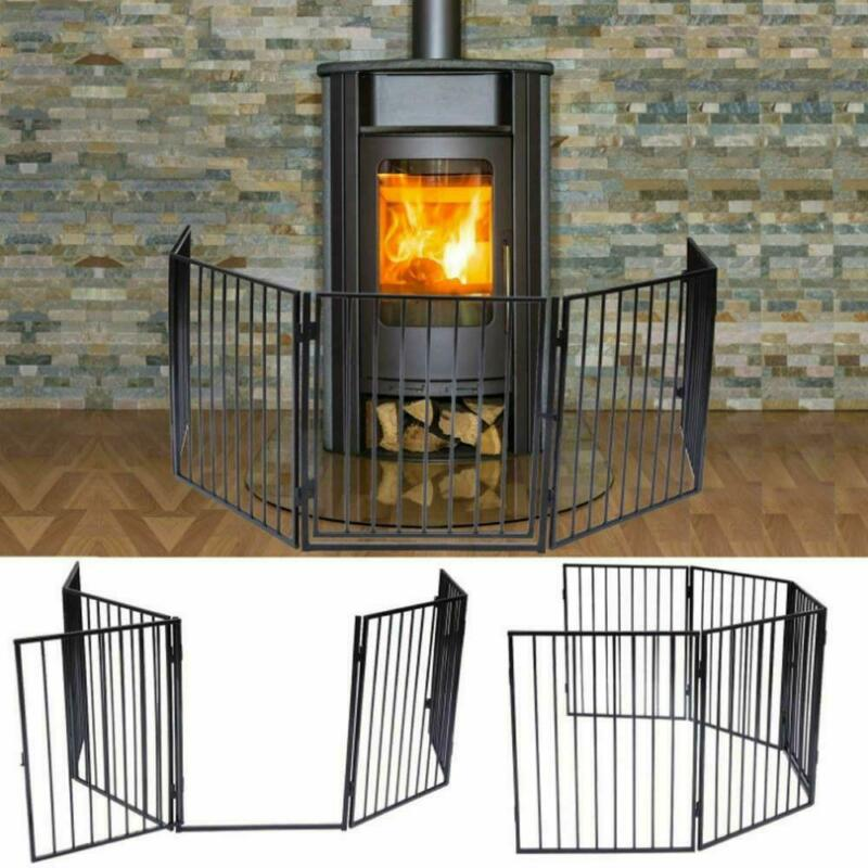 Fireplace Fence Baby Safety Fence Hearth Gate Pet Steel Fire Gate Black
