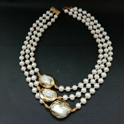 3 Strands 18''-21'' White Pearl 24 K Gold Plated Keshi PearlNecklace