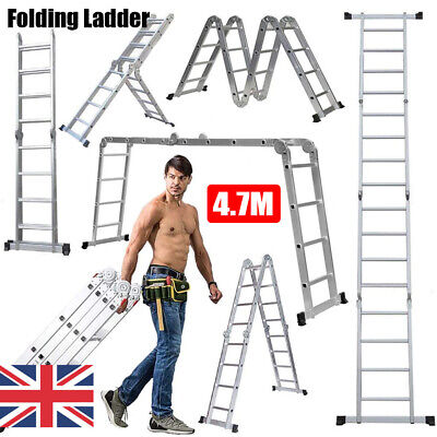 4.7 Aluminium Folding Telescopic Ladder Multi-Purpose Extendable 16 Steps Lader