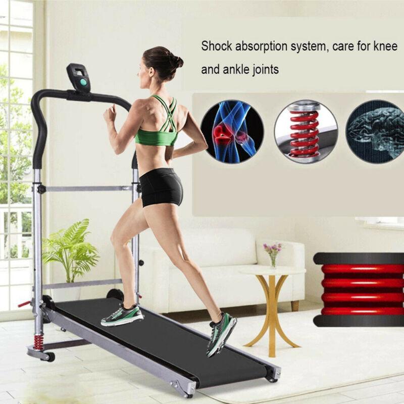 Folding Manual Treadmill Portable Running Gym Jog Home Fitne