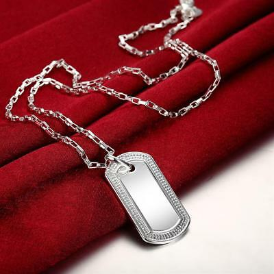 - Mens Womens 925 Sterling Silver Dog Tag Military Pendant Chain Necklace #NE162