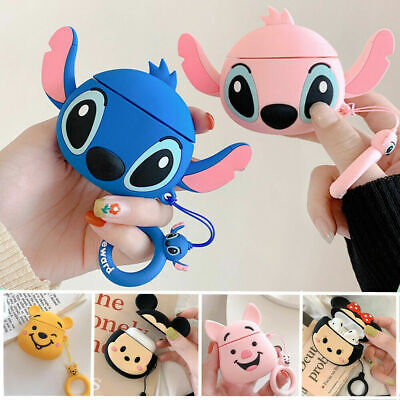 3D Disney Minnie Stitch Silicone Soft Case Strap For Apple Airpods 1 2 Earphone