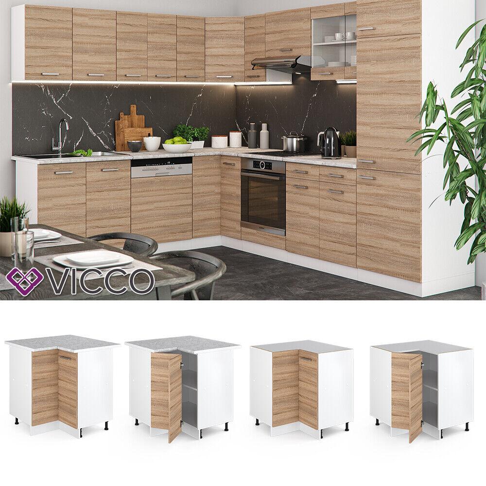VICCO Küchenschrank Hängeschrank Unterschrank Küchenzeile R-Line Eckunterschrank 87 cm sonoma