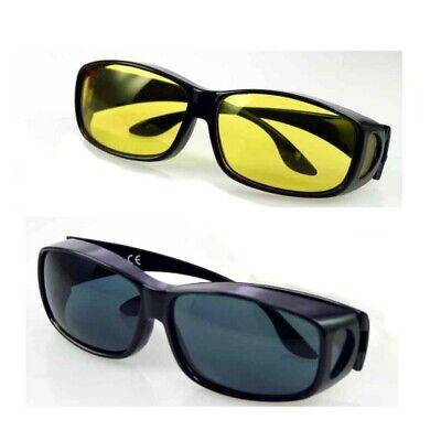 ÜBER BRILLE für BRILLENTRÄGER ! 2er-Set ! Sonnenbrille Schutzbrille TAG & NACHT