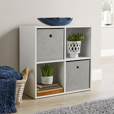 Storage Cube 4 Shelf Bookcase Wooden Display Unit Organiser White Furniture