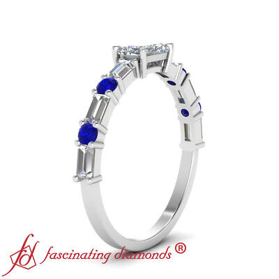 1.25 Carat Radiant Cut Diamond And Sapphire Gemstone East West Engagement Ring 2