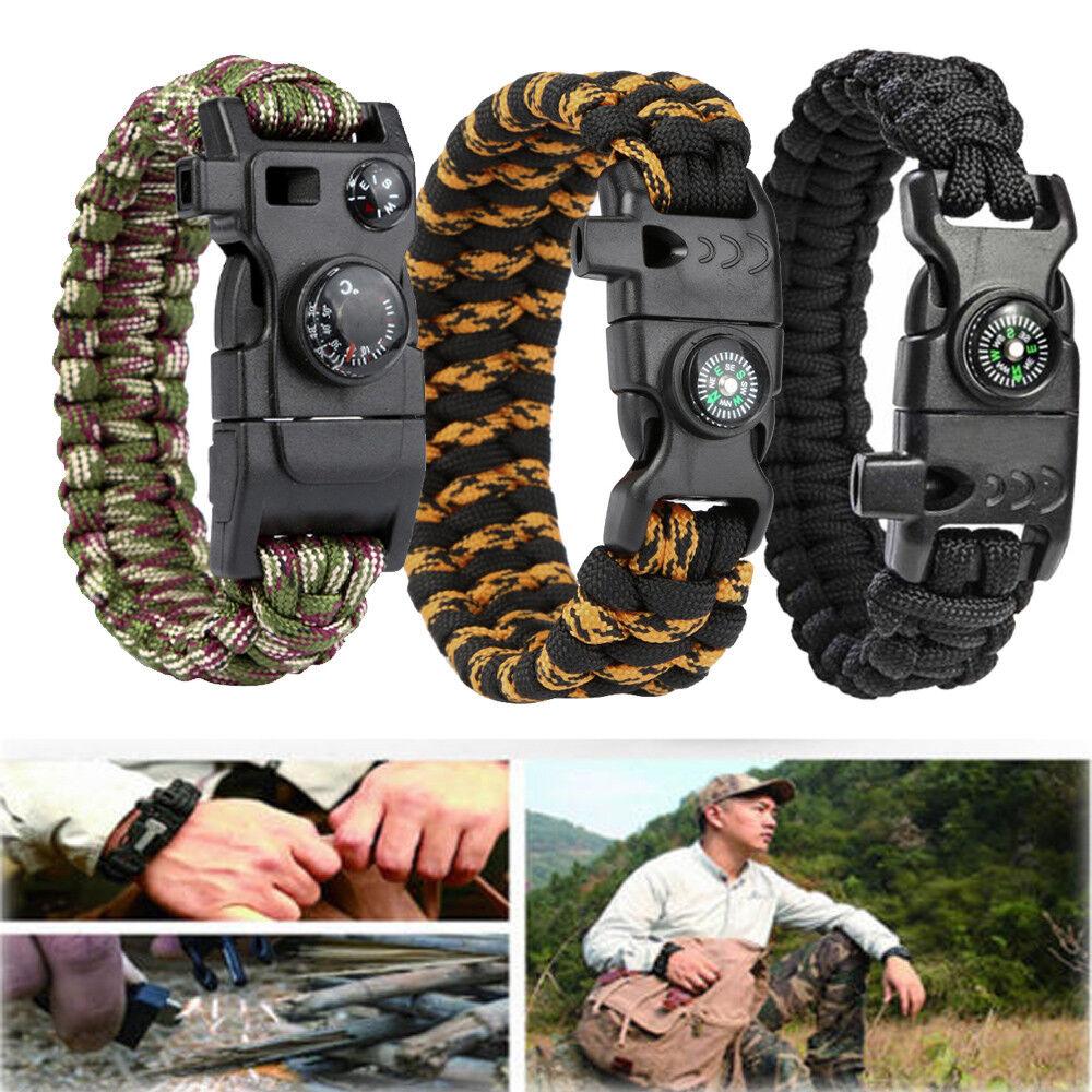 Outdoor Survive Buckle Rope Paracord Bracelet Camp Shackle Hiking Flint Compass