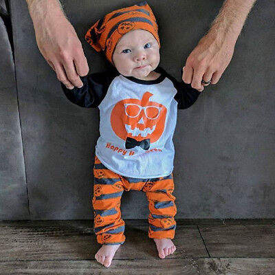 Halloween Toddler Baby Boy Pumpkin Tops Striped Pant Outfit 3Pc Set Clothes 0-3T - Halloween Toddler Clothes