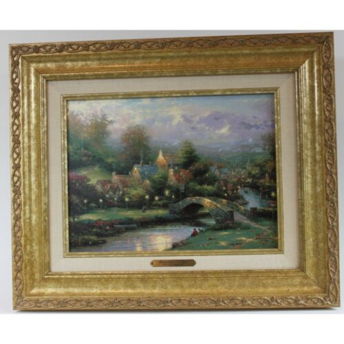 Thomas Kinkade - Lamplight Village with Classic Gold Frame