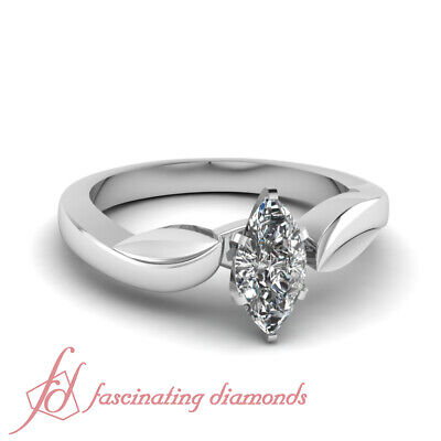 1.35 Ct Marquise Cut SI2 Diamond Solitaire Thick Swirl Style Engagement Ring GIA