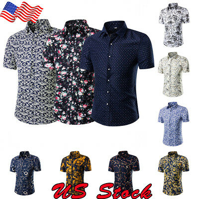 US Ship Men Holiday Beach Casual Stag Fancy Suit Flower Printed Hawaiian Shirt](Hawaiian Suit)