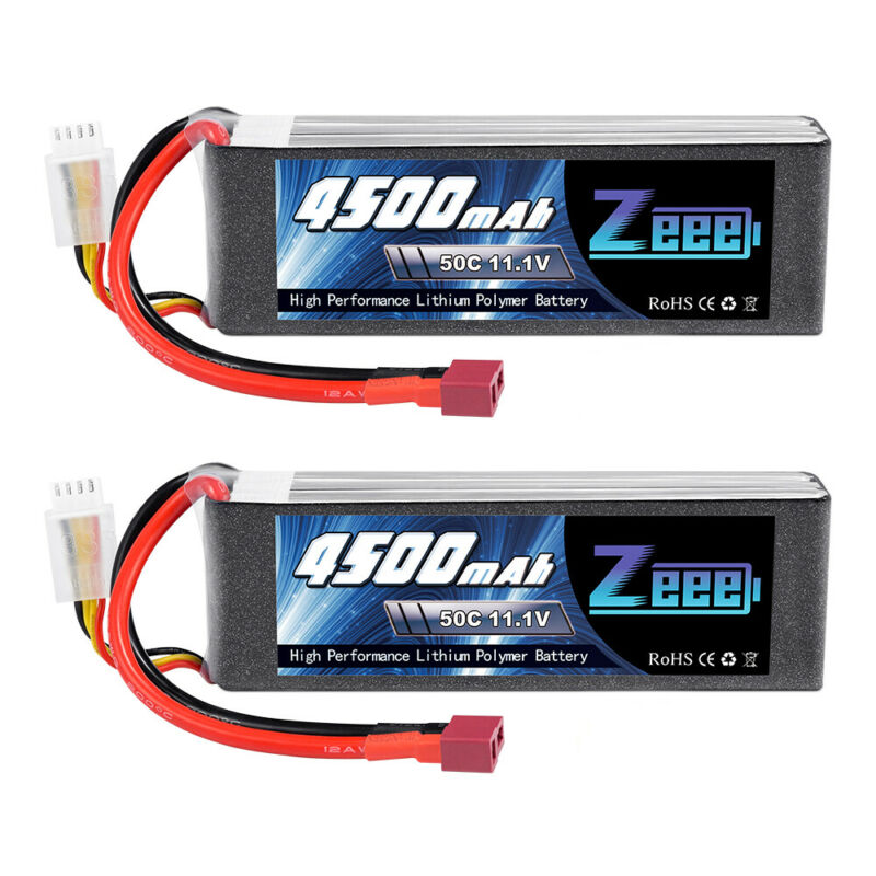 2x Zeee 4500mAh 11.1V 50C 3S Deans Lipo Battery for RC Car Helicopter Airplane