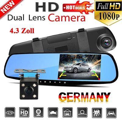 "4.3"" Zoll FHD 1080P Dual Len Auto DVR Rearview Rückspiegel Monitor DashCam Video"