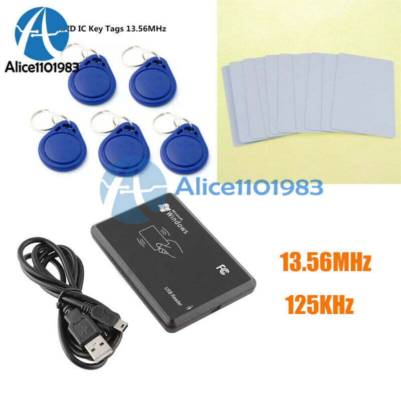 13.56MHz/125KHz USB RFID Smart IC Card Reader Key Tag NFC Only Read for Arduino