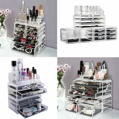 Acrylic Cosmetic Organizer 4 / 12 Drawers Drawer Makeup Case Storage Holder Box
