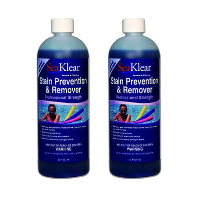 Pool Stain Remover - 2 Pack- SeaKlear Swimming Pool Stain Prevention & Remover 1Qt | Highly Effective