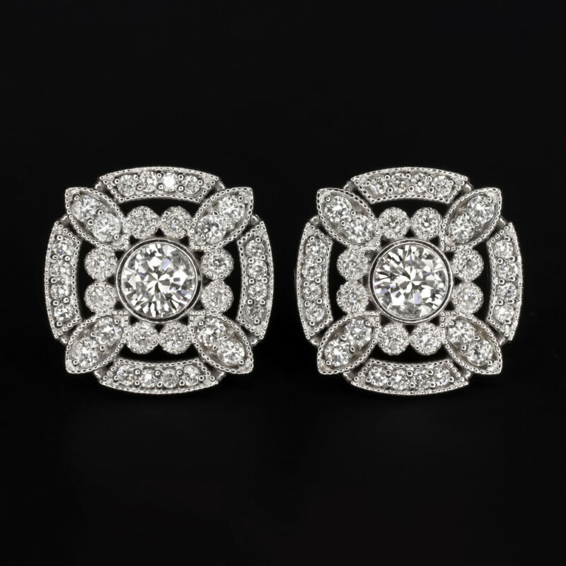 NATURAL DIAMOND 0.9ct STUD EARRINGS DECO HALO VINTAGE STYLE ANTIQUE WHITE GOLD