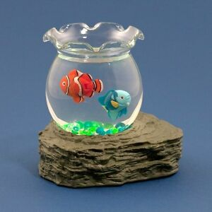 Magnetic moving fish in bowl battery operated desk water for Battery operated fish