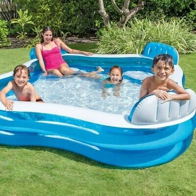 Intex Swim Centre Family Lounge Pool with Seats Drink Holders 229 x 229 x 66 cm