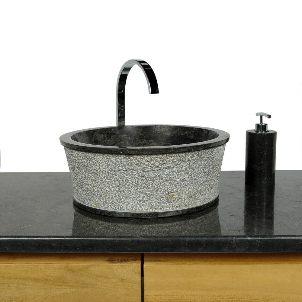 WOHNFREUDEN Aufsatz-Waschbecken Marmor Waschbecken 40 x 15 cm rund Badezimmer