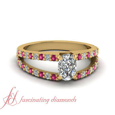1.50 Ct GIA Certified Cushion Diamond Engagement Ring With Round Pink Sapphire