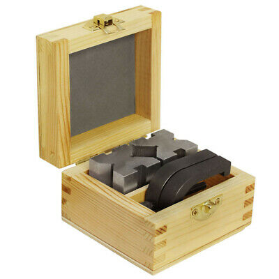 V Blocks And Clamps Set 1-58 Inch X 1-14 Inch X 1-14 Inch With Wooden Case