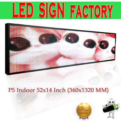 P5 Indoor Led Sign Full Color Led Display132x36cm Led Video Screen Message Board