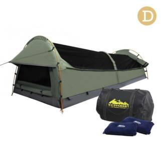 AUS FREE DEL-Double Camping Canvas Swag Tent Celadon w Air Pillow