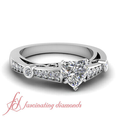 1 Ct Heart Shaped Pave Set Vintage Diamond Engagement Rings For Her 14K Gold