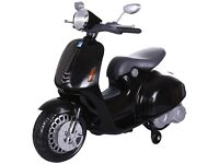 VESPA STYLE 12V KIDA ELECTRIC BATTERY POWERED RIDE ON TOY SCOOTER WITH STABILISERS - 3 COLOURS