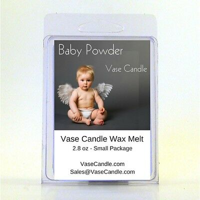 2 Baby Powder Vase Candle 2.8 oz Premium Highly Scented Wax Melts 50 Hours