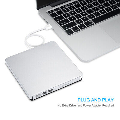 Portable USB 2.0 CD/DVD-RW Burner Writer External Optical Drive for Mac Laptop