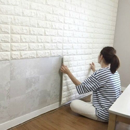 Home Decoration - *Time Sale* 3D Tile Brick 70 * 77cm Large PE Foam Waterproof Panels Wall Sticker