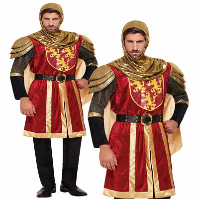 Red Crusader Adults Medieval Fancy Dress Costume Knight Guard Outfit Mrns