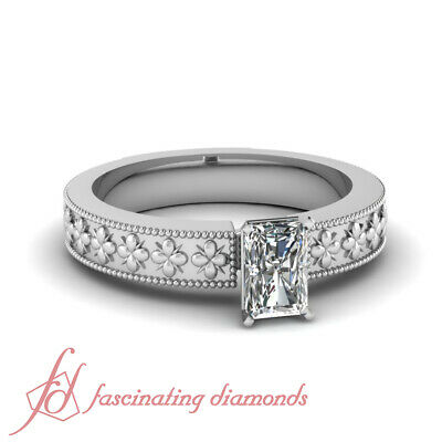 .50 Ct Radiant Cut Diamond Two Side Milgrain Solitaire Engagement Ring VS1 GIA