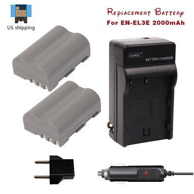 (2PACK EN-EL3E Batteries + Charger for Fujifilm D200 D300 D90 D300s D70s D100)