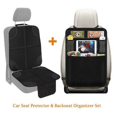 Car Seat Protector + Thickest Padded Waterproof Back Seat Organizer Kick Mat Set