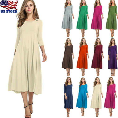 US Women Long Sleeve Shirt Long Maxi Dress Casual Flared Swing Skater Midi Dress