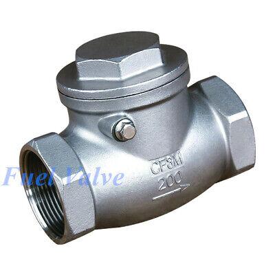34 Inch Swing Check Valve Npt Stainless Steel Non-return Water Oil Gas
