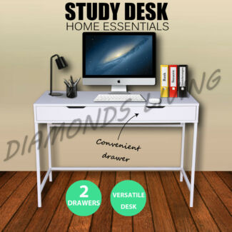 Study Desk Student Office Computer 2 Drawers Steel frame White