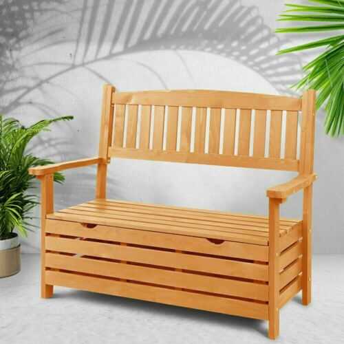 Garden Furniture - Gardeon Outdoor Storage Bench Box Wooden Garden Chair 2 Seat Timber Furniture AU