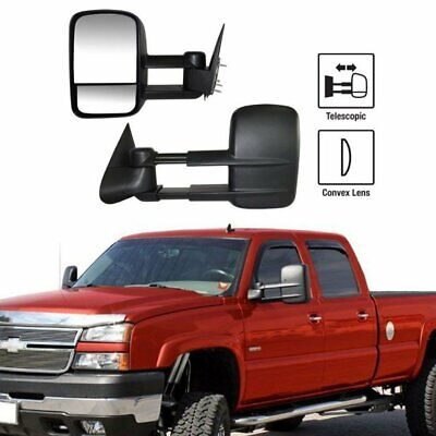 Left+Right For 99-07 Silverado Sierra Extend Telescoping Side Manual Tow Mirrors Manual Extending Tow Mirrors
