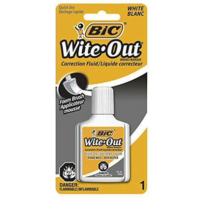 New Bic White Out Quick Dry Foam Brush Correction Fluid 0.70 Ounces 6 Pack