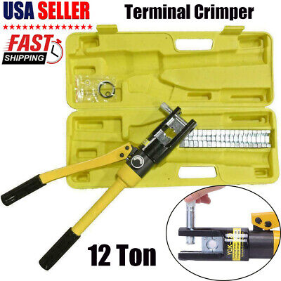 12 Ton Hydraulic Wire Battery Cable Lug Terminal Crimper Crimping Tool Pressure