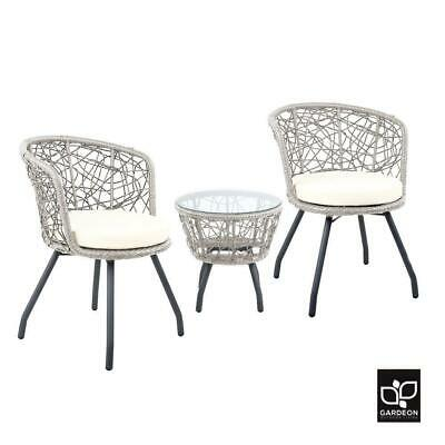 Garden Furniture - Gardeon Outdoor Furniture Rattan Bistro Set Chair Patio Garden Wicker Round 3pc