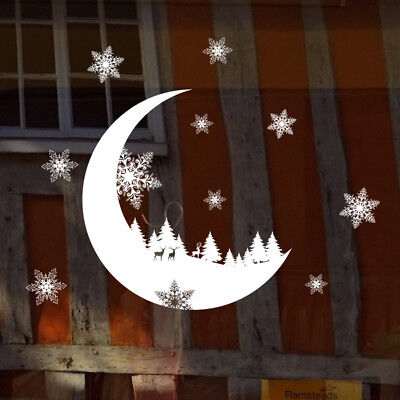 Hot Christmas Snow Moon Wall Sticker Bedroom Home Decoration Wall Decal Paper
